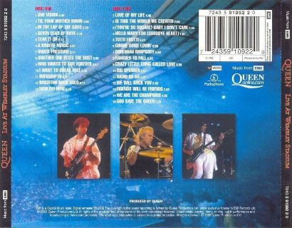 ... Queen 'Live At Wembley Stadium' UK CD back sleeve