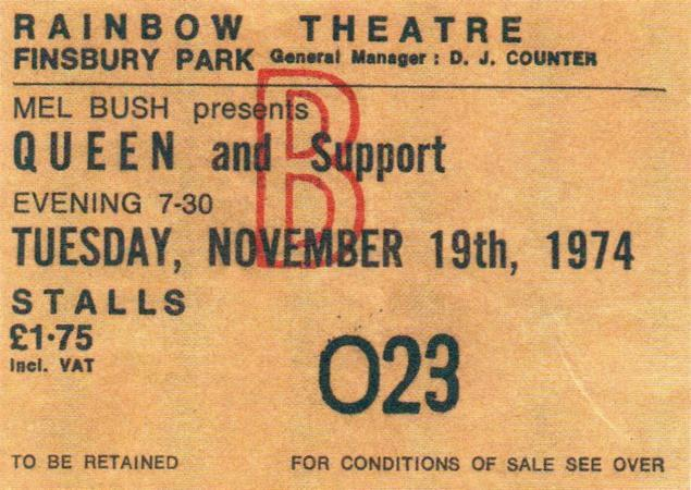 Queen 1974 Rainbow 1974 Rainbow Theatre Concert
