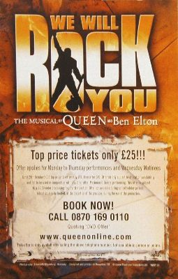 'We Will Rock You' musical flyer